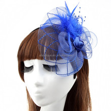 Fashion Women Wedding Bridal Hair Accessories Lace Feather Fascinator Hat With Hairband Beaded Hair Bow Rose Flower Headband