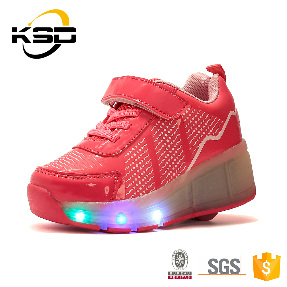 LED Flash High Heel Kids Roller Light Up Skate Shoes
