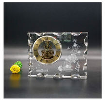 1pc/lot fantastic design clearly color K9 AAA crystal clock for decoration office wedding gift