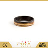 POYA Jewelry 6mm New Fashion Unique And Natural Zebra Wooden Wedding Band Women's Wood And Carbon Fiber Ring