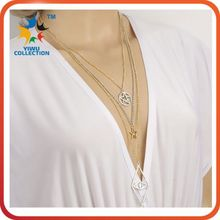 italian gold link multi layered charm stretched pearl necklaces