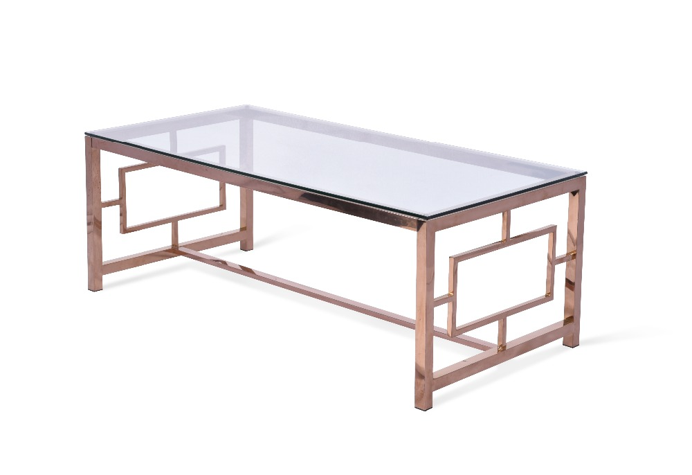 Fashion design rectangle glass top stainless steel with rose gold plated coffee table