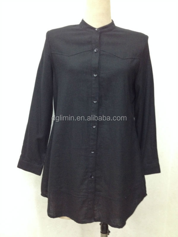ladies kurta design 2015 crew neck balck cotton kurti