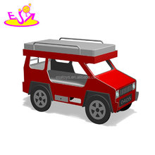 New hottest cool off-road shaped wooden boys car bed with bunk design W08A085