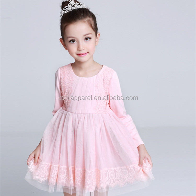 long sleeve princess flower girls cotton dress