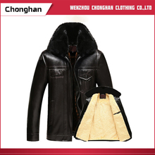 Chonghan 2017 Dubai Customized Men Cotton-Padded Faux Leather Jacket