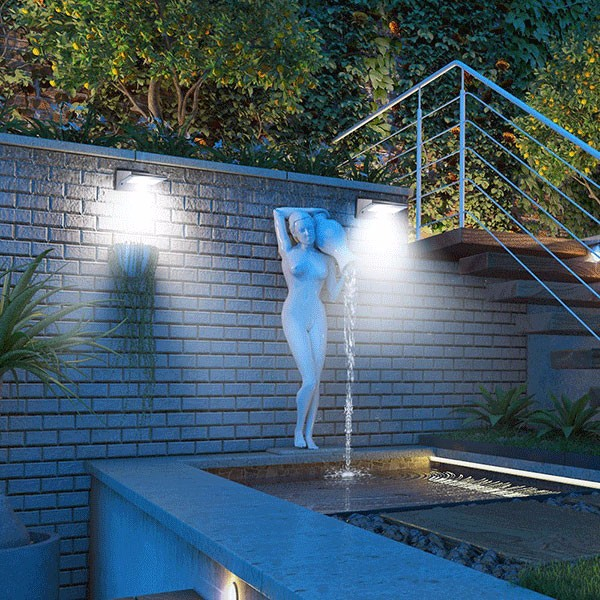 Stainless Steel Solar Wall Lights with Security Motion Sensor Light