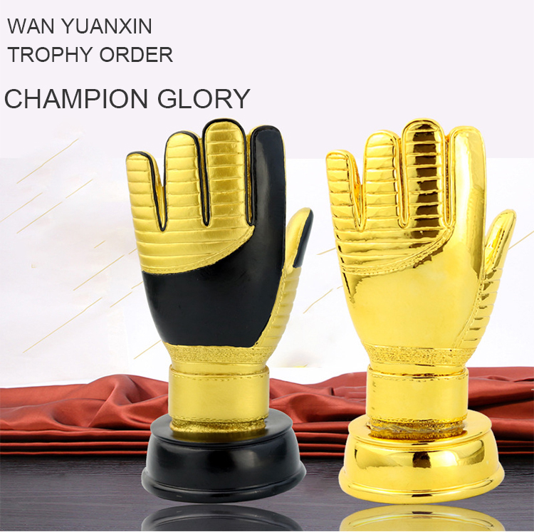 Football trophy sports event awards souvenir goalkeeper gold gloves trophy
