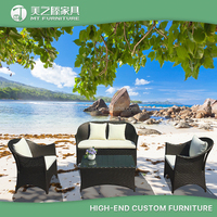 Commercial modern leisure ways black rattan garden line patio furniture with white waterproof cusion