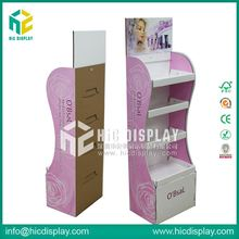 HIC 3 drawer cardboard cosmetic organizer, glass cosmetic display stand