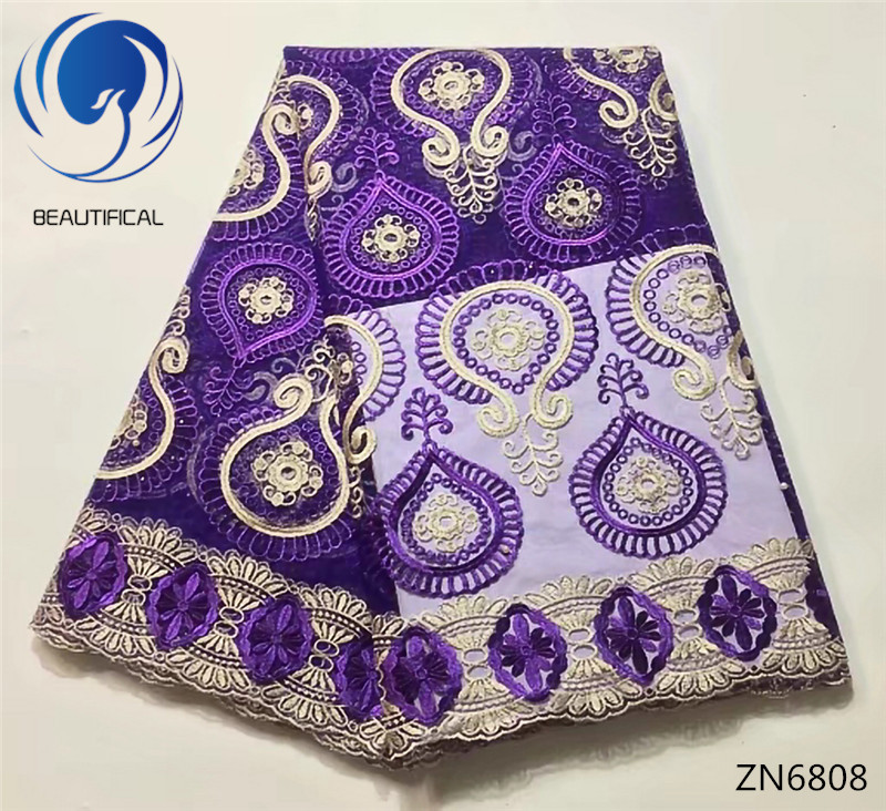 Embroidered African French Lace Fabric High Quality Purple Nigerian Mesh Tulle Lace Fabric