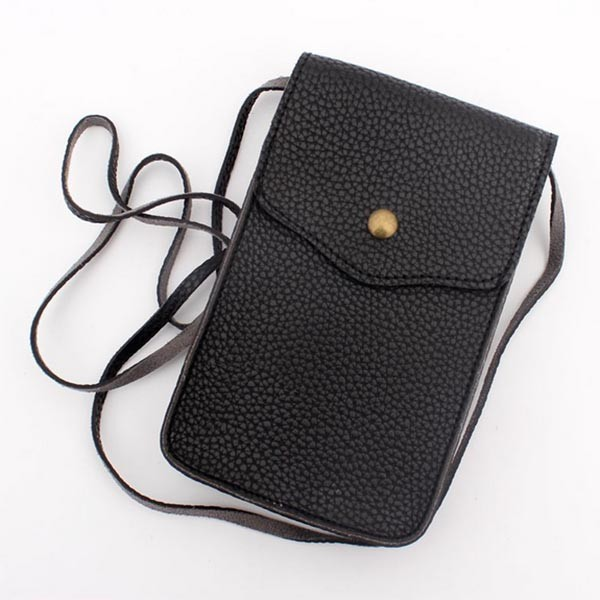 new design 100% 1.5mm pu leather ladies phone neck wallet travel clutch coin purse