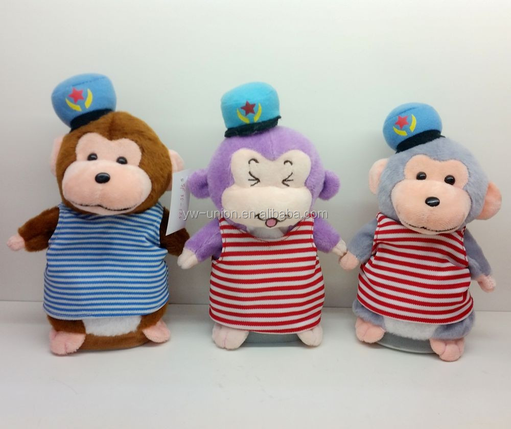 Battery operated moving plush monkey speaking dolls