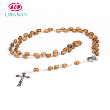 Wholesale factory wooden rosary for Christian cross bracelets olive necklace wooden pieces necklace