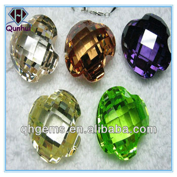 dark blue apple green heart-shaped cubic zirconia