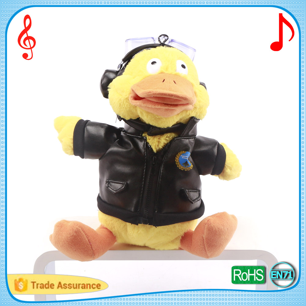 Plush musical yellow duck with sunglasses singing movements puppet soft stuffed cartoon animal toys