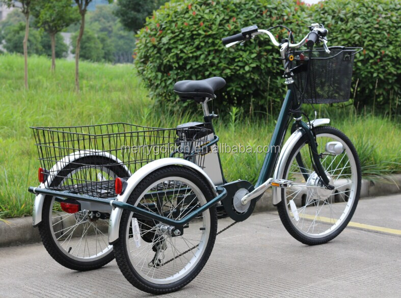 24inch 250w motor electric three wheel cargo bike with 2 big basket for older