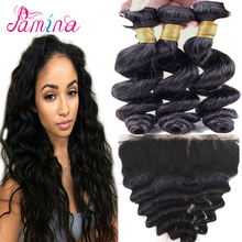 Virgin brazilian hair top quality loose wave 3 bundles with lace frontal closure loose wave virgin remy human hair extensions