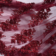 Burgundy beaded bridal lace gorgeous french floral lace fabric for wedding FB0005