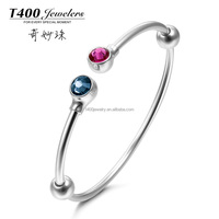 T400 Jewelry factory price 925 sterling silver bracelet with letter T and Crystal made with Swarovski Elements for charms QZ01A