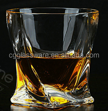 FDA factory price high quality anomalistic design square bottom whisky glass /300ml customized logo for customer /Bar/Home /KTV