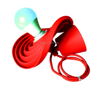 Red Rubber Pendant Light Fixture Modern Colorful Light Fittings with Silicone Lamp Shade