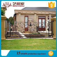 modern ornamental strong quality used steel tube fence panel / american luxury double swing aluminum fencing for garden driveway