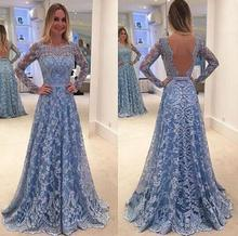 New Fashion Lace Long Dress Long Sleeve Mermaid Evening Prom Maxi Dress