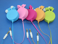 Colorful Single retractable earphone with 3.5mm jack plug for mobile /MP3/MP4