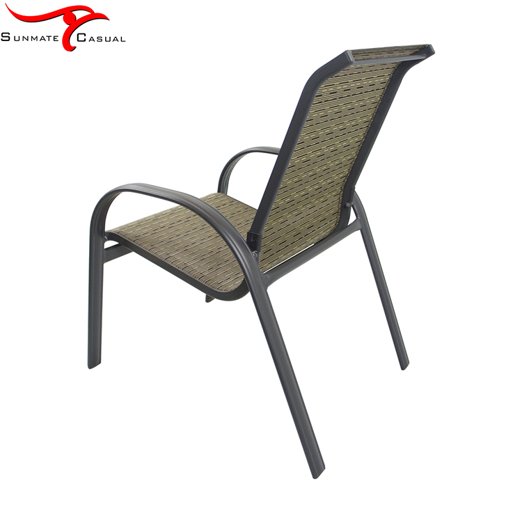 Wicker Balcony Metal Chair Outdoor Stackable Terrace Steel Garden Chairs