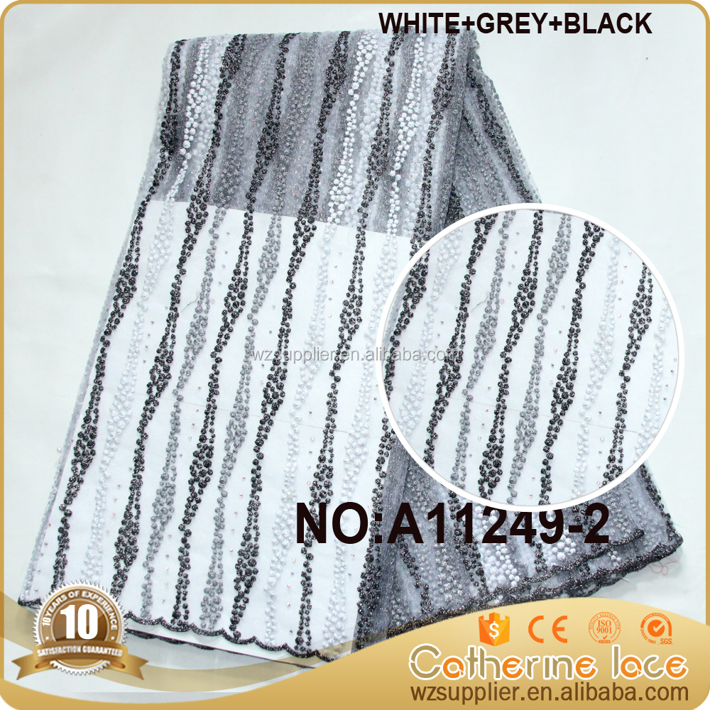 black with white wholesale african bead guipure french tulle lace fabrics