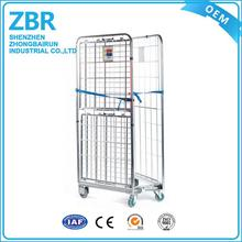 Wire Mesh Rigid Roll Cart Material Handling Moving Cage Trolley