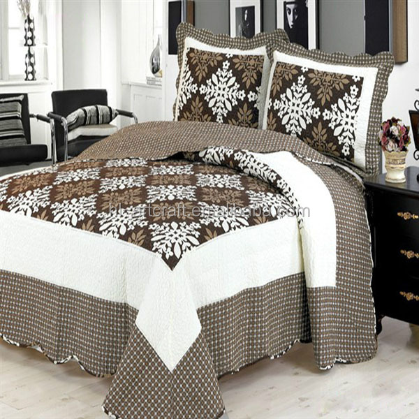 Plain Dark Brown Luxurious Stone Wash Soft Super King Size Embroidery Quilt