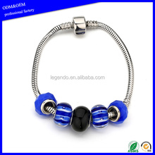 Fashion Stainless Steel Snake Chain colored Glass Bead Bracelet With Barrel Snap Clasp Bangle For Women or Girls
