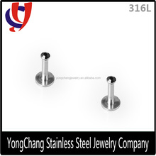 Crystal 316L Surgical Stainless Steel internally threaded Lip Bar Labret Ball Ring Monroe Stud