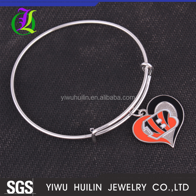 IMG 2542 Yiwu Huilin Jewelry best selling football Cincinnati Bengals swirl heart handmade fashion bangles