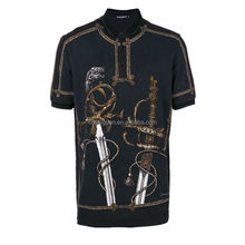 Full digital printing classical sword logo men polo wear slim fitted black polo shirts