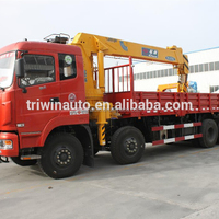 China Shiyan factory supply 8x4 straight arm cargo truck mounted crane