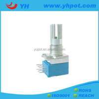 YH factory high quality 9mm metal shaft dual gang sealed volume control rotary potentiometer