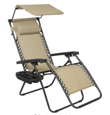 Zero Gravity Canopy Shade Lounge Chair With Cup Holder