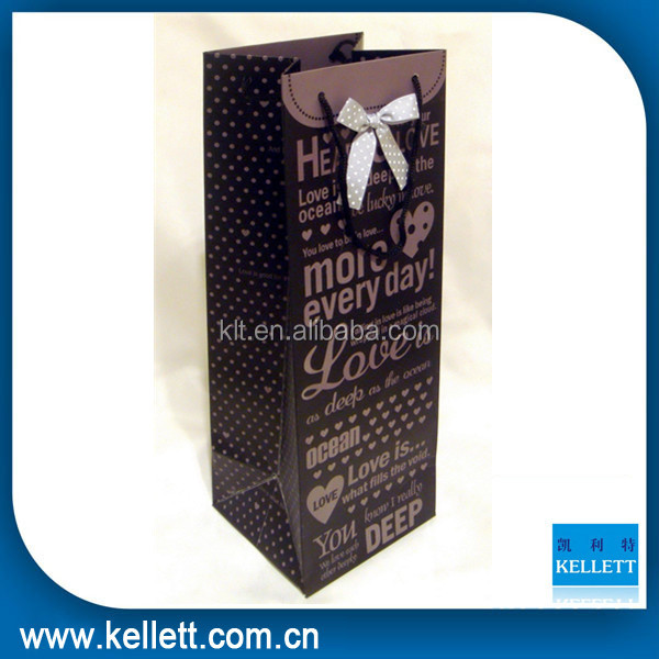 Popular black wine paper packaging paper bag & Wine gift paper bag for packaging