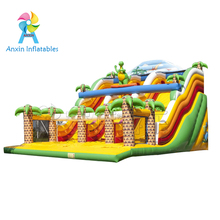 Commercial giant adult dinasaur theme cheap inflatable dry slide for sale