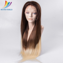 Peruvian Human Hair 4/613 Ombre Color 26 Inch Long Straight Pre Plucked Front Lace Wig With Baby Hair