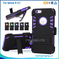 Rugged hybrid combo robot kickstand belt clip holster case for iphone 6 heavy duty case