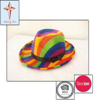 2015 New Adult Party Hat in rainbow strip color with polyester material