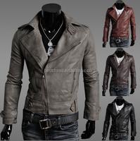 Fashion Men's clothing Slim Fit Casual Suit Coat leather Jacket