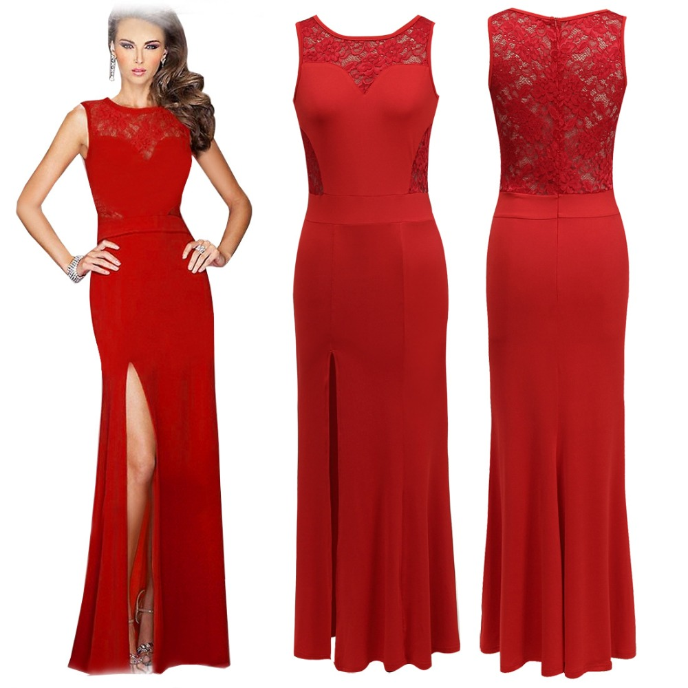Walson Wholesale sleeveless cutout lace red front slit beautiful sexy pictures of girls without dress