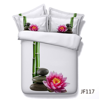 Spa style Bamboo, lotus flower and black rocks on white 3d Bedding set