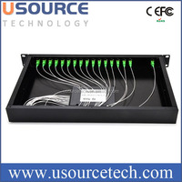 FTTH 1*16 rack mount plc splitter Rack Mount Fiber Optic PLC Splitter 19 Standard With SC Adapter