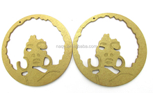 2017 Gold Color Afro Lady Large Wood Earrings